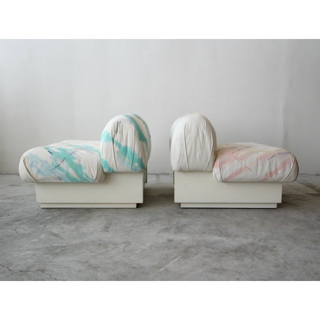 Custom Post Modern Italian Style Pair of Slipper Chairs Artist Signed Fabric For Sale In Las Vegas - Image 6 of 9