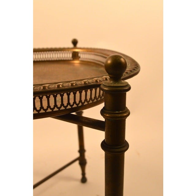 1940s Classical Brass Tray-Top Table For Sale - Image 5 of 7