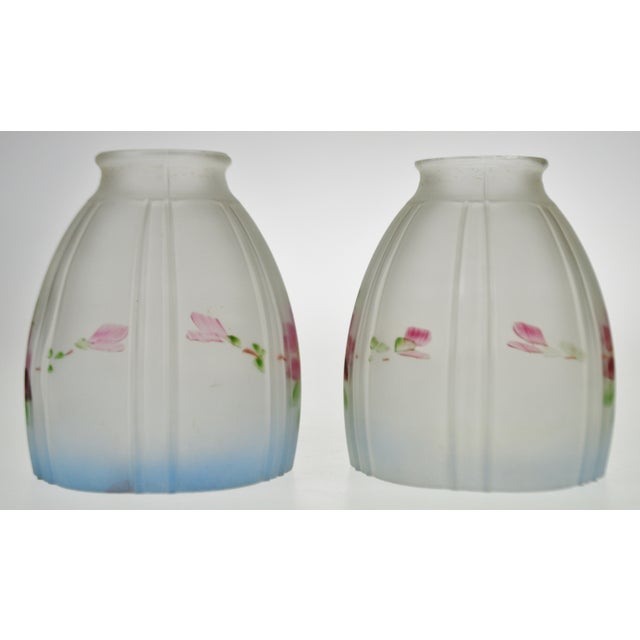 White Victorian Handpainted Frosted Glass Light Shades - a Pair For Sale - Image 8 of 12