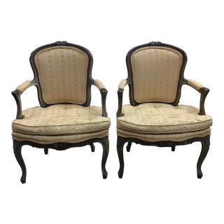 French Louis XV Style Open Armchairs - a Pair