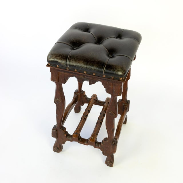 Arts and Crafts Period Square Stool Upholstered in Tufted Dark Leather, English, Circa 1880 For Sale - Image 4 of 11