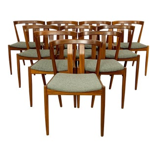 Newly Refinished & Reupholstered Set of 10 Dining Chairs For Sale