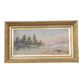 Antique Fine Art Oil Landscape Seascape Painting For Sale