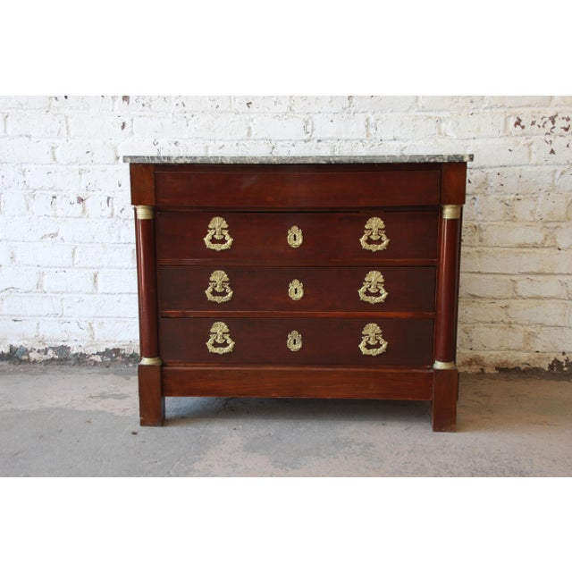 French Empire Mahogany Marble Top Commode Chest of Drawers, Circa 1850 For Sale - Image 13 of 13