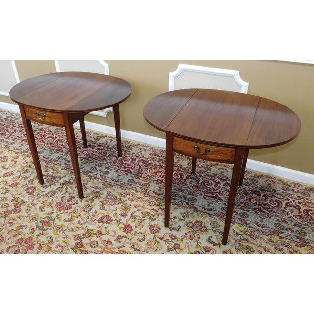 Vintage Federal Style Pembroke Drop Leaf End Tables - Pair For Sale - Image 7 of 9