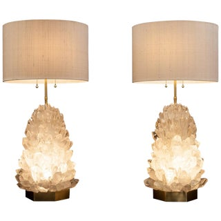 Pair of Natural Crystal Table Lamps, Signed by Demian Quincke For Sale