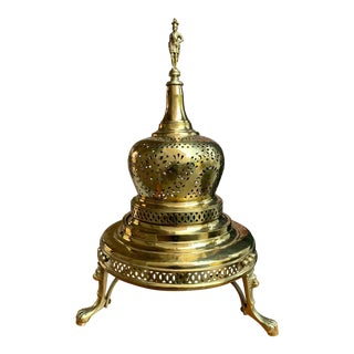 Vintage French Polished Brass Bell Brazier Heater Fire Pit Incense For Sale