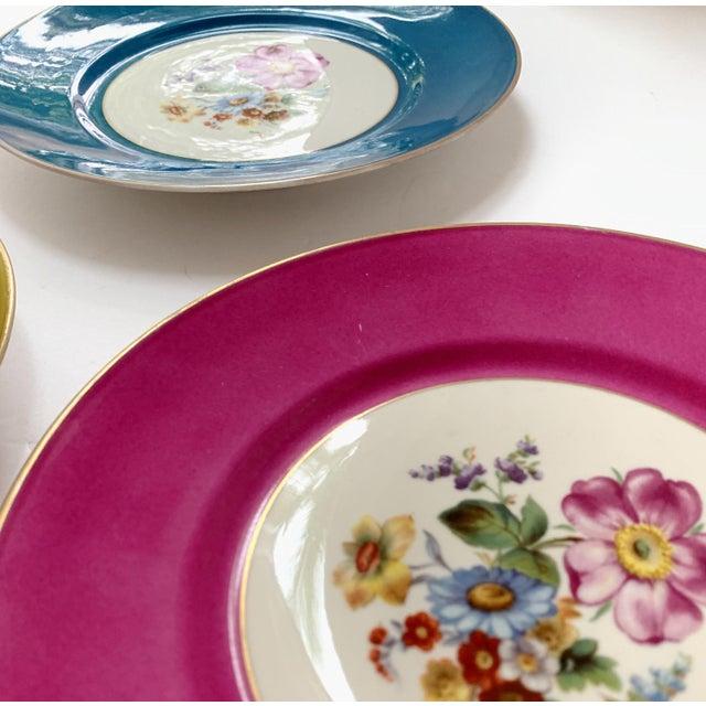 Vintage Richard Ginori Italy, Multicolored Porcelain Salad / Dessert Plates, Flower Patterns , Set of 5 For Sale - Image 10 of 13