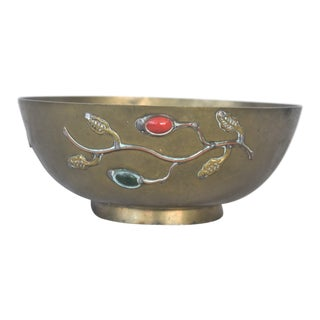 Vintage Jeweled Chinese Bowl For Sale