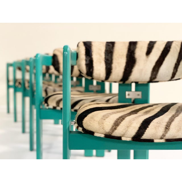 1960s Augusto Savini for Pozzi 'Pamplona' Dining Chairs in Zebra - Set of 8 For Sale - Image 5 of 10
