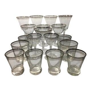 Vintage Platinum Trimmed Glasses - Set of 18