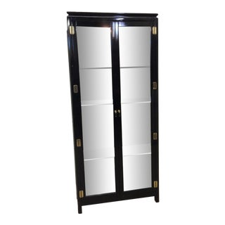 Asian Style Black Lacquer & Mirrored Display Case Lighted