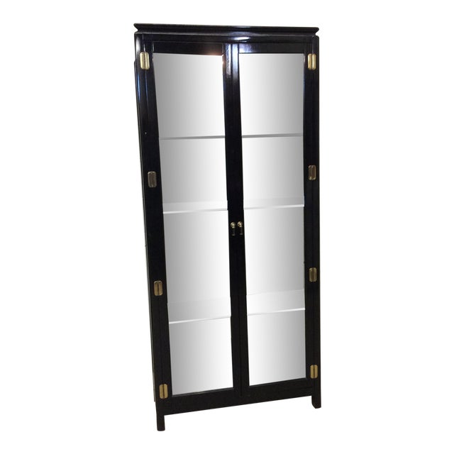 Asian Style Black Lacquer & Mirrored Display Case Lighted For Sale