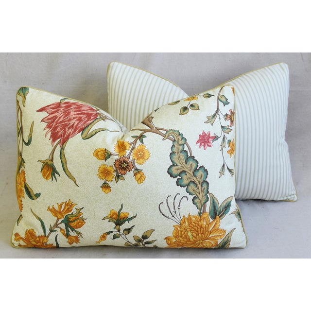 """Schumacher Arbre Fleuri Floral & Ticking Feather/Down Pillows 22"""" X 16"""" - Pair For Sale - Image 10 of 13"""