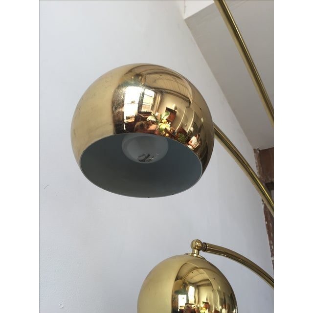 Mid-Century Brass 3 Branch Orb Lamp W/ Marble Base - Image 9 of 10
