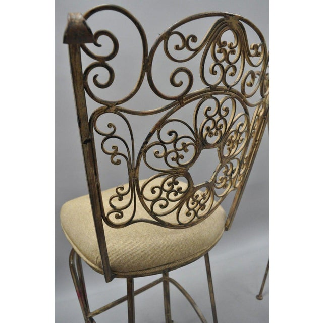 Wrought Iron Fancy Swivel Bar Stool Woodard Andalusian Scrolling Metal - A Pair For Sale In Philadelphia - Image 6 of 13