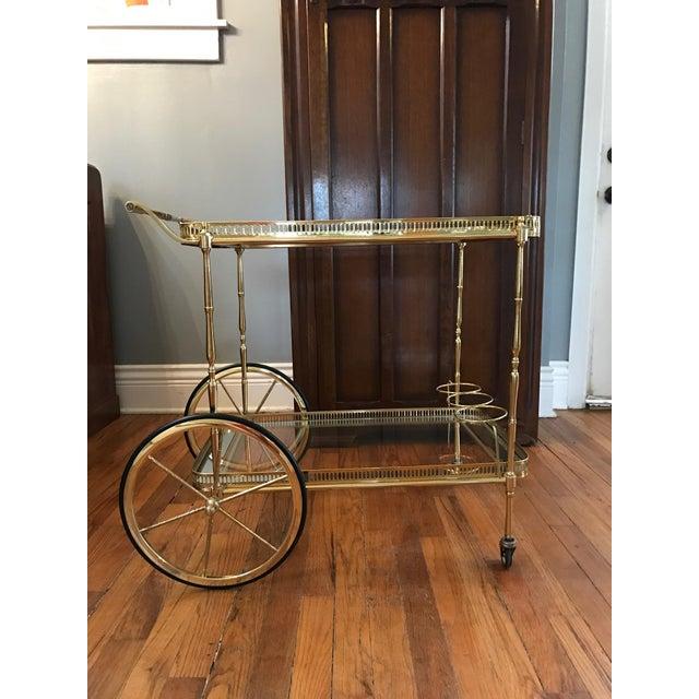 Vintage Brass & Glass Bar Cart - Image 4 of 8
