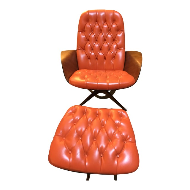 1960's PlyCraft Lounge Chair & Ottoman For Sale