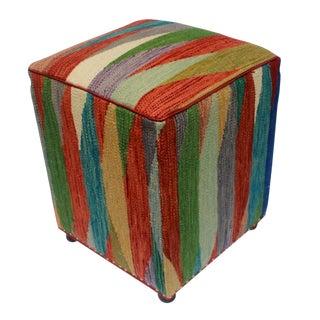Arshs Dirk Rust/Green Kilim Upholstered Handmade Ottoman For Sale