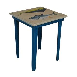 Hand Painted Yellowfish Tuna and Mahi Mahi Fish Rustic Wood Side Table by Tom Hart For Sale