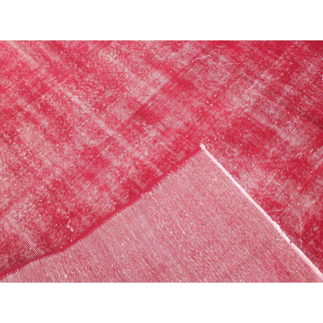 "Turkish Pink Overdyed Handknotted Rug -- 5'10"" x 9'10"" For Sale - Image 4 of 6"