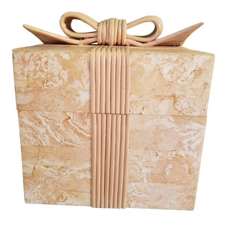 Vintage Coral Stone Veneer Ribboned Box For Sale