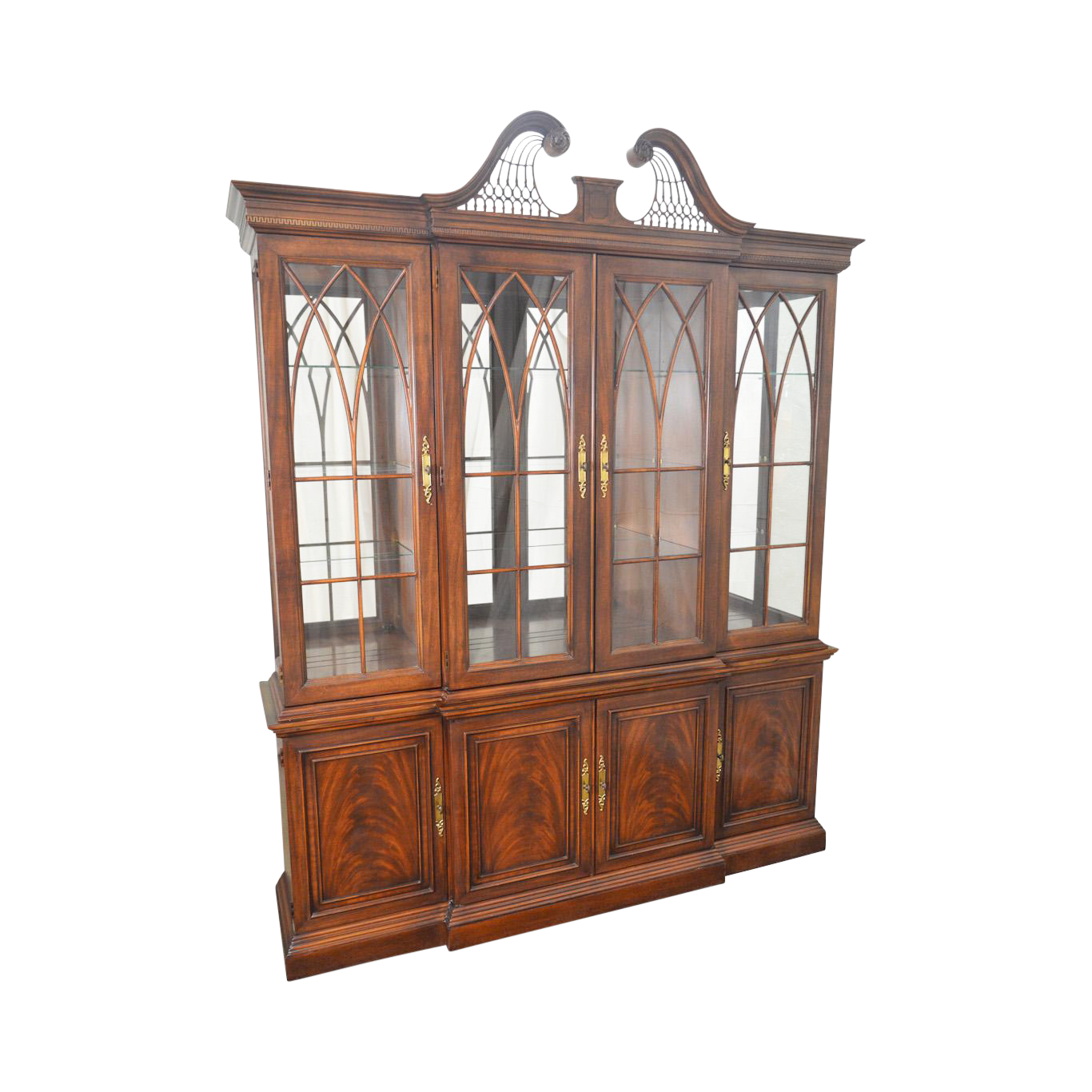 Drexel Heritage Mahogany Chippendale Style Breakfront Dining Room China  Cabinet