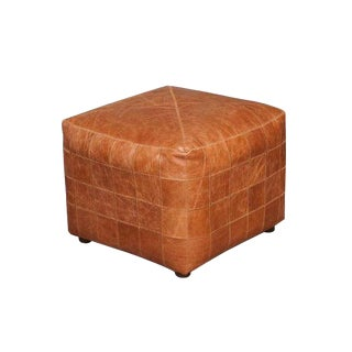 Contemporary Vienna Tan Square Patchwork Ottoman For Sale