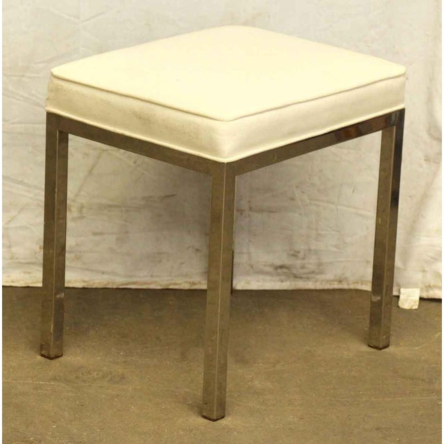 Modern Antique White Square Stool For Sale - Image 3 of 5
