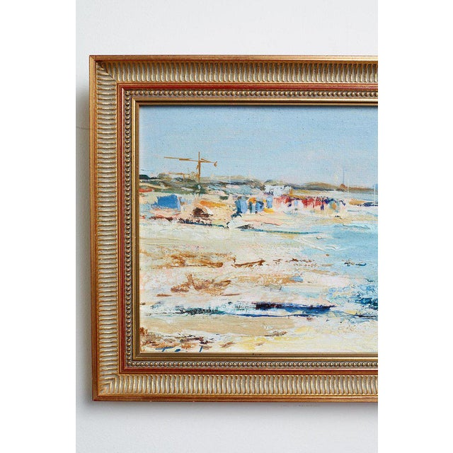 Mid Century T. Scola Coastal Painting Oil on Board For Sale - Image 10 of 13