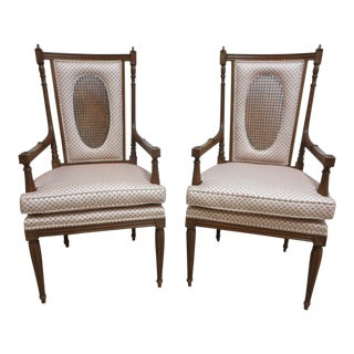 Pair of Vintage French Regency Louis XV Carved Fireside Lounge Arm Chairs