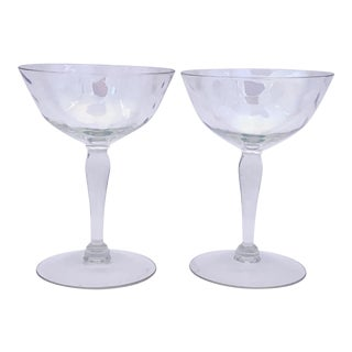 1960s West Virginia Glass Iridescent Champagne Coupes - Set of 2 For Sale