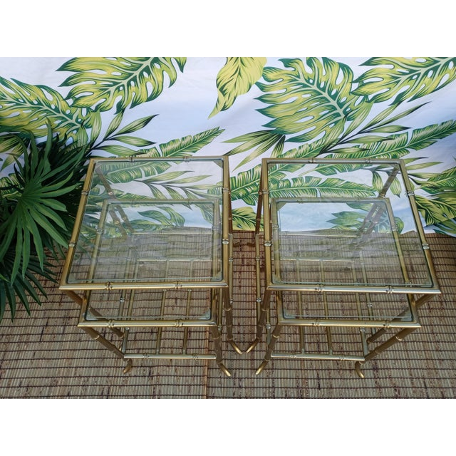 1990s Palm Beach Regency Gold Faux Bamboo Square Set of 4 Glass and Metal Nesting Tables For Sale - Image 5 of 10
