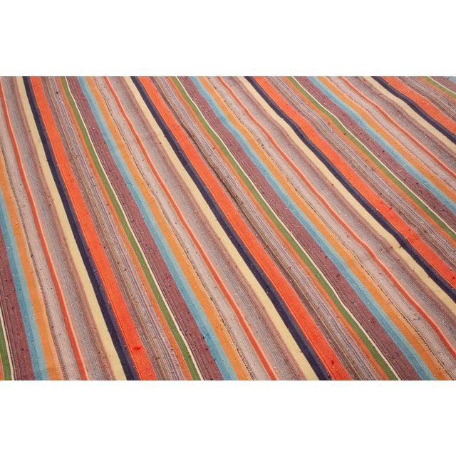 2010s Contemporary Striped Wool Kilim Rug - 6′10″ × 11′6″ For Sale - Image 5 of 6