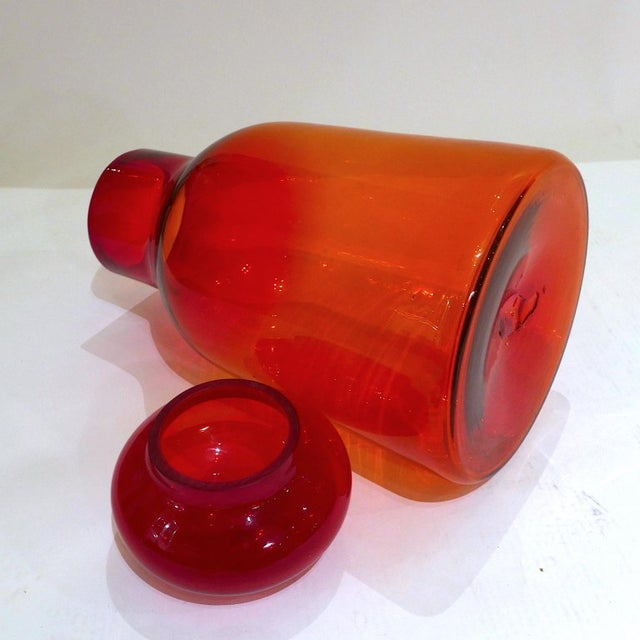 Glass Large Ombre Blown Blenko Orange Decanter With Lid by John Nickerson For Sale - Image 7 of 9