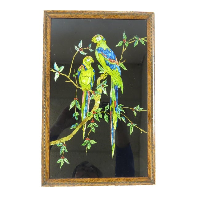Antique Americana Folk Art Tinsel Painting of Tropical Birds For Sale