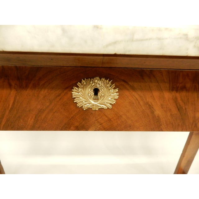Marble French Empire Walnut Console For Sale - Image 7 of 10