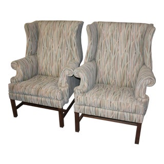 Vintage Mid Century Reed Wingback Chairs- A Pair For Sale