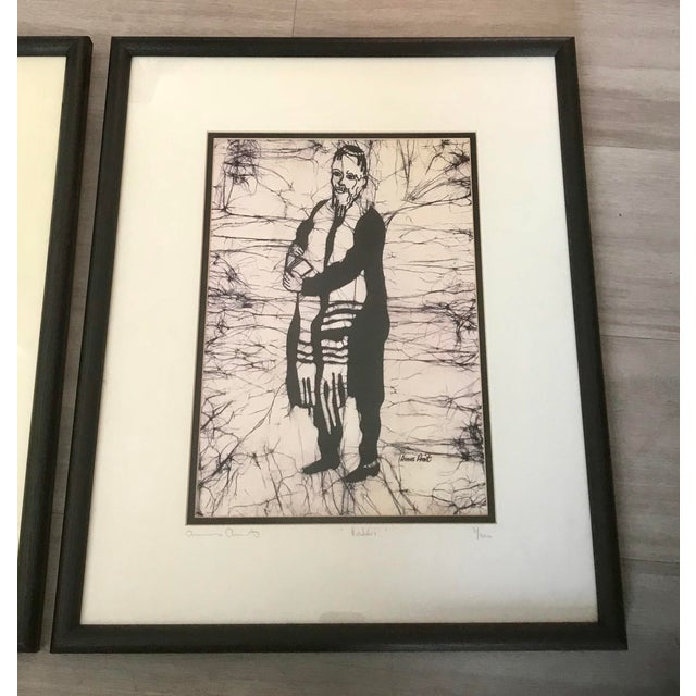 Amos Amit Framed Black & White Litograph Prints - a Pair For Sale - Image 4 of 6