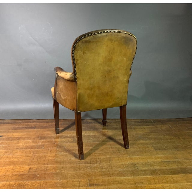 Brown Early 1900s English Leather & Mahogany Library Chair For Sale - Image 8 of 11