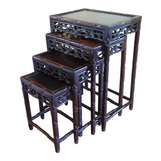 Vintage Chinese Carved Rosewood Faux Bamboo Nesting Tables - Set of 4 For Sale