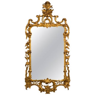 1940s Carved Giltwood Italian Wall Mirror For Sale