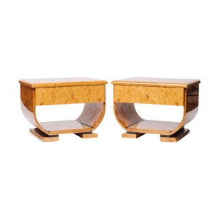 Burl Wood 70's Deco Inspired Nightstands -Pair