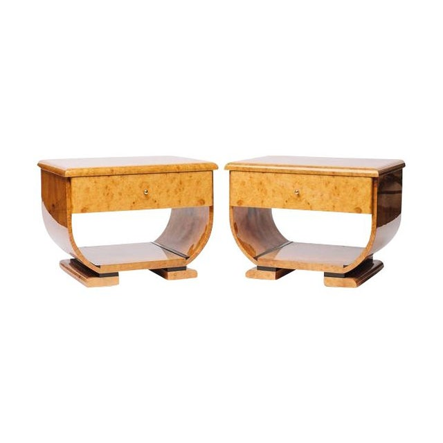 Burl Wood 70's Deco Inspired Nightstands -Pair For Sale