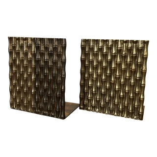 Faux Bamboo Brass Bookends For Sale