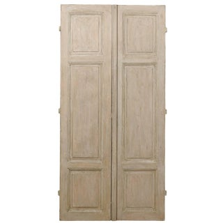 Pair of French Grey Painted Doors, Grey Color With Some Taupe Colored Accents For Sale