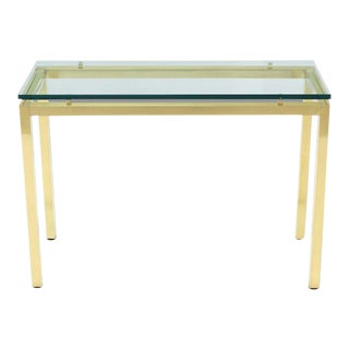Vintage Mid Century Brass and Glass Console Table For Sale