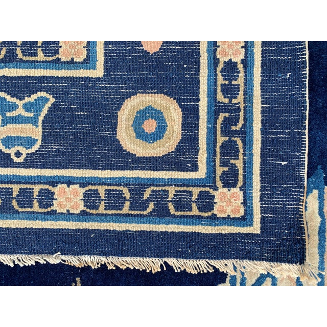 Antique 1910s Blue Chinese Pictorial Rug- 5′ × 8′ For Sale - Image 12 of 13