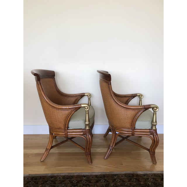 Fabric Ethan Allen Wicker Rattan Chairs - a Pair For Sale - Image 7 of 13