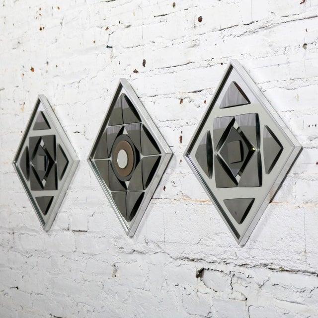 Pop Art Op Art Geometric Trio of Framed Mirror Wall Sculptures by Hal Bienenfeld For Sale - Image 10 of 13